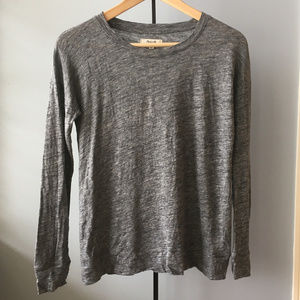 Madewell Grey Linen Basic Long Sleeve Casual Shirt